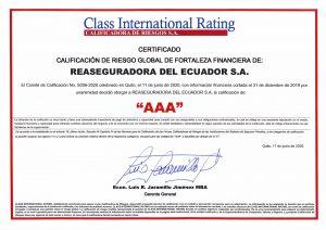 class international rating Reaseguradora del Ecuador SA